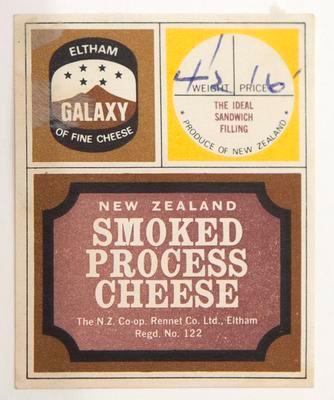 Label, New Zealand smoked process cheese