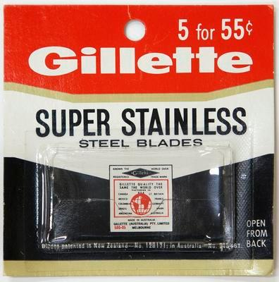 Box, Gillette super stainless steel blades