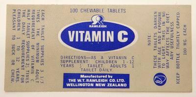 Label, Vitamin C tablets