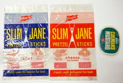 Bags and label, French's Slim Jane pretzel sticks and Colman's Mustard