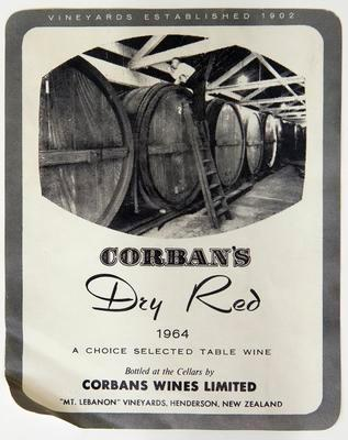Label, Corban's Dry Red