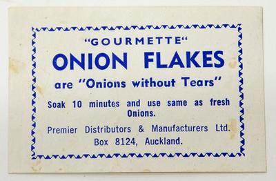 "Label, ""Gourmette"" onion flakes"