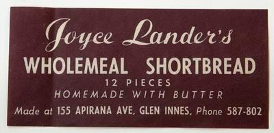 Label, Joyce Lander's wholemeal shortbread