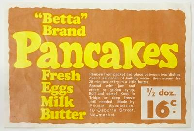 "Label, ""Betta"" brand pancakes."