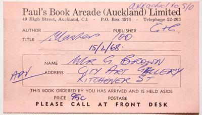 Postcard, Paul's Book Arcade orders