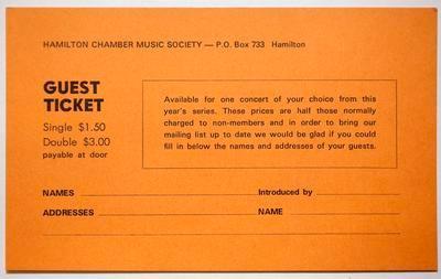 Ticket, guest - Hamilton Chamber Music Society