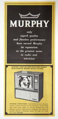 Advertising material - Murphy televisions and stereos