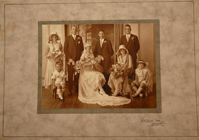 Photograph - Wedding portrait of bridal party of  Frederick Charles Roberts and Ruth Johnstone