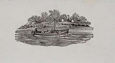 Paddle Boat on River - Tailpiece to the Golden Eye, History of British Birds Vol II (6th ed)