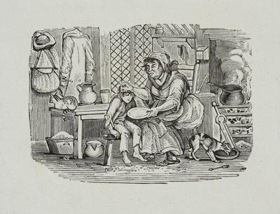 Fables [Domestic Scene Mother and Sick Child]tailpiece to Of the Auk, or Penguin, Hist Brit Birds Vol II (6th ed)