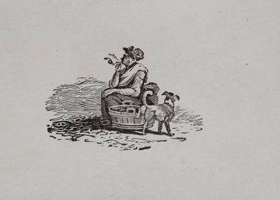 Woman with  Dog - Tailpiece to Oyster Catcher from History of British Birds II