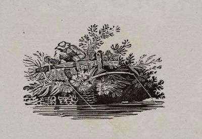 [Man Fishing In River]Tailpiece to Black Chin Grebe from Hist of British Birds II