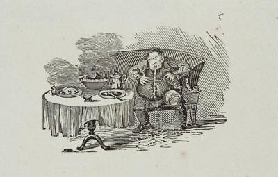 [Man Over Eating and Vomiting] Tailpieces to The Grey Warbler, Hist. of British Birds Vol II