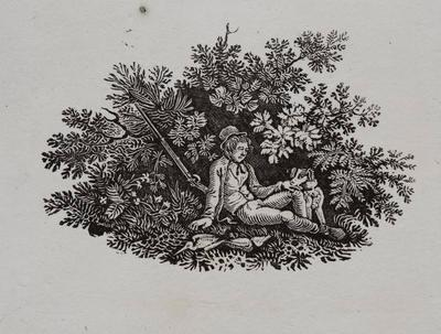 Hunting [Man Resting With His Gun, His Dog And Dead Duck] Tailpiece to The Pheasant, History of British Birds Vol I