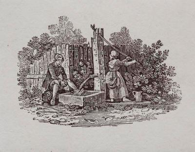 [Woman pumping water to wash man's feet]Tailpiece to Canada Goose, History of British Birds Vol II