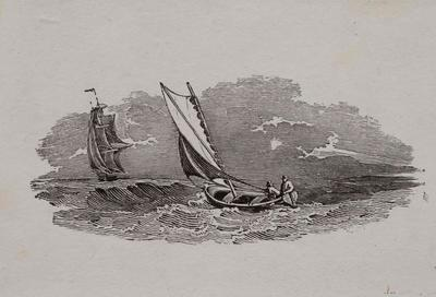 [Stormy Sea, Two Men In Yacht And Sail Ship]Tailpiece to The Scamp Duck, History of British Birds Vol II (6th Ed)