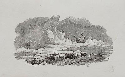 [Ship Wreck On Ice] Headpiece to the Preface, History of British Birds Vol II (6th ed)