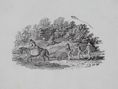 [Horse rider caught in boys flying kite] Tailpiece to Pintail Duck, History of British Birds Vol II