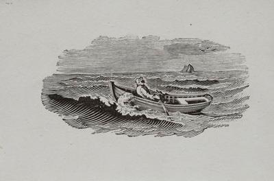Sea, Man in Row Boat Tailpiece to Black Sandpiper, History of British Birds Vol II