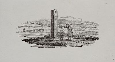 Fable;  [Old man explaining land marker in the country]  Tailpiece to Kingfisher, History of British Birds Vol II