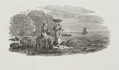 Women beside the sea with baskets. Tailpiece to Sandwich Tern, History of British Birds Vol II