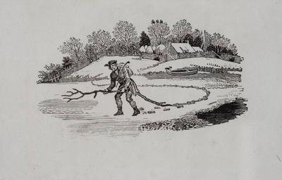 Winter Scene; Tailpiece to Lesser Godwit, History of British Birds Vol II