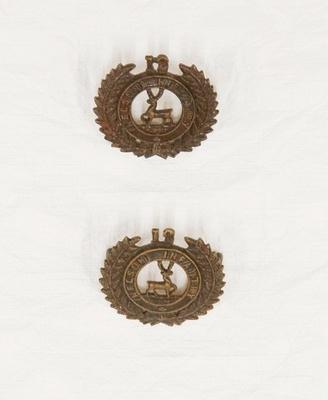 Collar badge – 12th Nelson Regiment Infantry (pair)