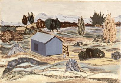 Untitled [barn in landscape]