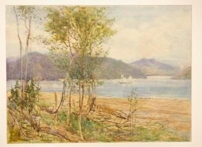 Untitled (inlet, boat, trees and mountains)