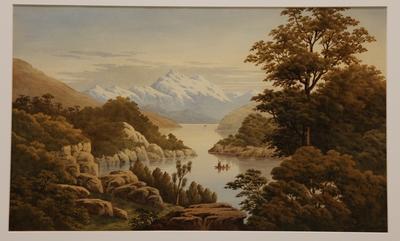 Untitled (mountain and lake landscape)