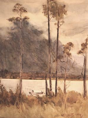 Untitled (mountain and river landscape)
