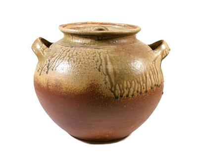 Glazed pot with lid