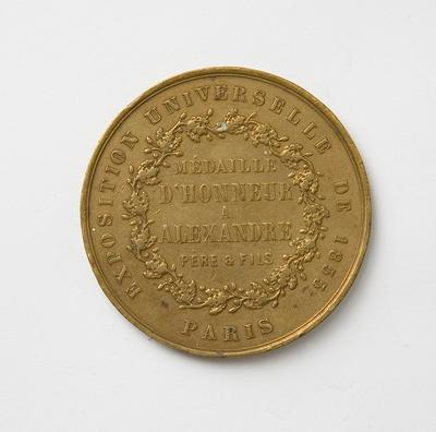 Medallion – Paris Exhibition 1855