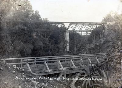 Photograph - Manganui-o-te ao River viaduct and traffic bridges