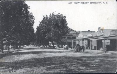 "Postcard – ""Gray [Grey] Street, Hamilton, N.Z."""