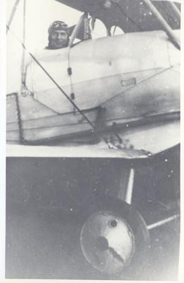 """Photograph – Dr M.M. Hocken in aircraft """"Bluebird"""""""