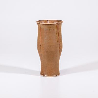 Arum lily vase, ochre fluted