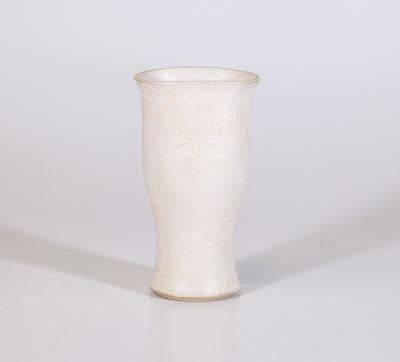 Arum lily vase, white fluted