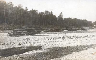 Postcard – river bed, possibly near Horahora Power Station