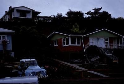 Slide - houses in Awatere Avenue, Hamilton after slip