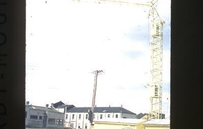 Slide - crane working on State Advances Corporation building, Hamilton