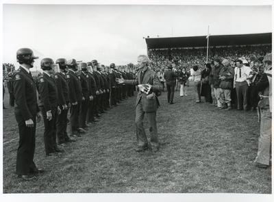 """""""Rev. George Armstrong (St. Johns College, Auckland) pleading with Riot Squad""""  - 1981 Springbok Tour"""