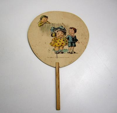 Set of hand-held illustrated paddles advertising Waikato Co-op butter
