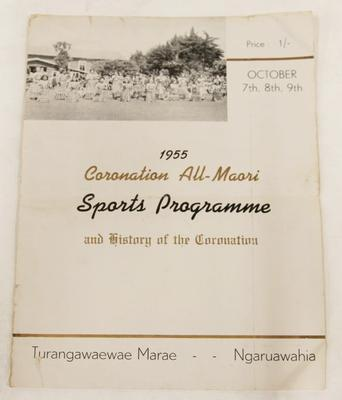1955 Coronation All-Maori Sports Programme and history of the Coronation