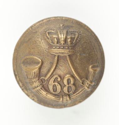 Tunic button: 68th Regiment