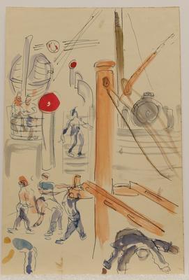 Crew working, Mataroa; Ruth Davey; 1953; 2020/18/214