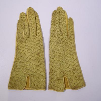 Women's yellow leather gloves