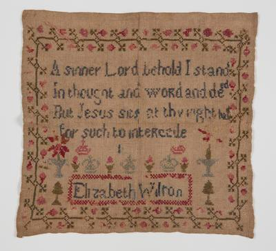 """Embroidery sampler – """"A sinner Lord behold I stand..."""""""