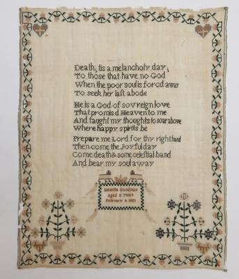 "Embroidery sampler – ""Death; tis a melancholy day..."""