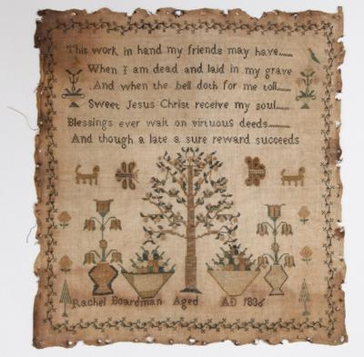 """Embroidery sampler – """"This work in hand my friends may have ..."""""""